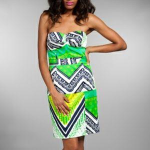 Trina Turk strapless green dress
